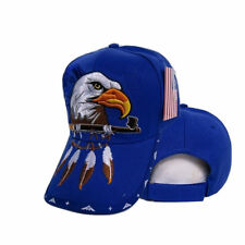 Native Pride American Indian Eagle Pipe Shadow Blue Embroidered Cap Hat