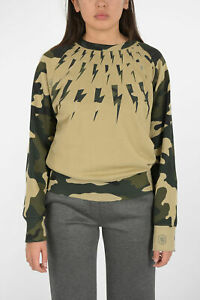 NEIL BARRETT women Sweatshirts Fair-Ilse Thunderbolt Camo Easy Blouson Beige ...