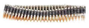 "3"" Bullet Belt .308 Caliber Nickel Shell Copper Tips 42"" 72 Bullet Link No Amo"