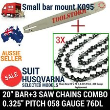"""20"""" BAR AND 3 CHAINS COMBO HUSQVARNA CHAINSAW 325 058 76DL-455 Rancher AND MORE"""