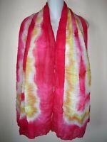 "NWT EVERYWEAR SCARF Pleated Shawl Tie Dye Watercolor Coral Yellow New 72 x 38"""