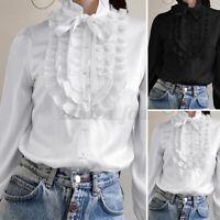 ZANZEA Damen Elegant Langarmshirt Bluse Knopf Hemd Schleife Rüsche Oberteile Top