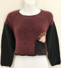 Vintage Suss Design Women Cropped Sweater M Happy Face Pocket Long Sleeve