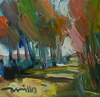 JOSE TRUJILLO ORIGINAL Oil Painting Abstract Modernism IMPRESSIONIST Park Trees