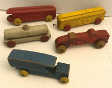 Vintage 5pc lot Train Pull Toy Cars Wood Pennsylvania North Western Tanker Fire