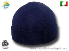 Cappello cuffia Cuculo pura lana costa fine blu