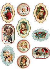 Vintage Christmas 10 assorted sizes stickers scrapbooking decoration crafts