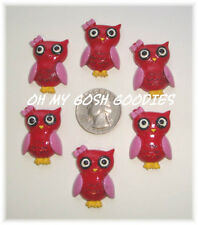 6PC VALENTINE PINK RED HOOT OWL FLATBACK RESINS 4 HAIRBOW BOW CENTER