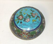 CHINESE OPEN CLOISONNE ENAMEL FLORAL BLOSSOM DESIGN TOP LARGE JAR BOX