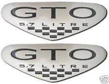 NEW Pontiac GTO 5.7 L Black Shield Emblems Pair 2