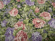 tissu fleurs violet rose vert coupon 150 cmX 70cm neuf mercerie couture 291