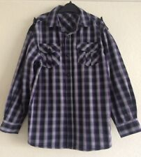 Boy's checked long sleeved casual shirt, Black/grey/purple, 8/9 years