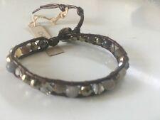 "Chan Luu NWT Sterling Silver 6""adj Brown  Leather Pyrite Mix Bracelet"