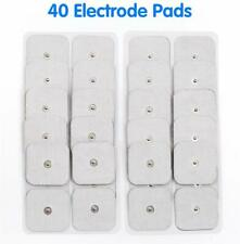 """40x Snap On Replacement Electrode Pads For TENS Unit Self Adhesive 2""""x2"""" White"""