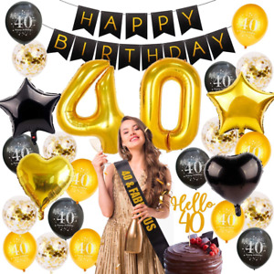 40th Birthday Banner Decorations Cheers to 40 Years Black Gold 40th Party Balloo