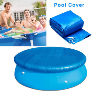 6/8/10ft  Pool Solar Cover Round Swimming Paddling Family Easy Fast Set Blue