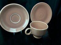 FIESTAWARE Vintage Rose Tea Cup and Saucer Set + Bread Plate ! Fiesta - HLC