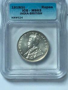 1919 B British India Rupee KM524 ICG MS63