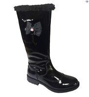Lelli Kelly Frances Girls New Black Patent Winter Boots LK3698 Size 28 - 37 Zip
