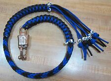 "36"" Get Back Whip USA Made Panic Snap Electric Blue and Black with 16 Skulls 1%"