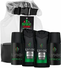 New LYNX Africa 25 Years Travel Bag Mini Gift Set Body Spray Body Wash x4 Pieces