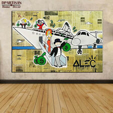 "Alec Monopoly ""After the trip"" oil painting on canvas large wall picture 36x24"""