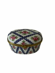 Porcelain Hinged Box  - Lovely oval shaped with roses trunk trinket box