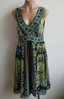 Sandra Darren Sheer Sleeveless V Neck Blue Green Summer Floral Dress Size 4