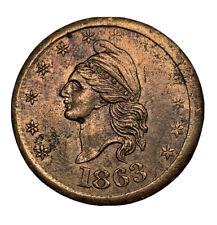 1863 I.O.U. One Cent - Civil War Token Au