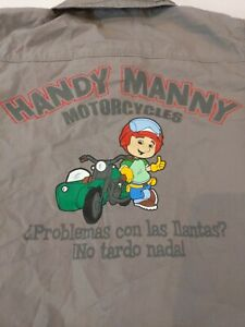 Handy Manny Kids 5T Motorcycle Tire team Gray Collar Shirt From Disney Store