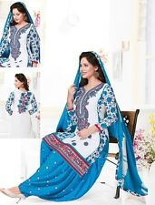 Radiant Cotton Embroidered Dress Material with Chiffon Dupatta D.NO MIT9002