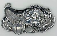 VTG Lenox Metal Centerpiece Harvest Fruit Decorative Silvertone Tray Plate