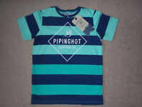 Boys, blue and green striped, short sleeved T-shirt, approx 9 - 10 years