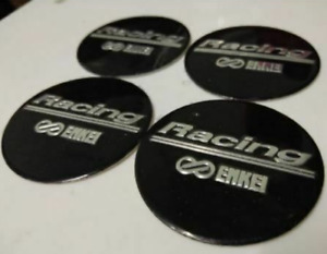 4pcs 45mm Enkei Racing Black Wheel Center Stickers Rim Stickers Hub Stickers