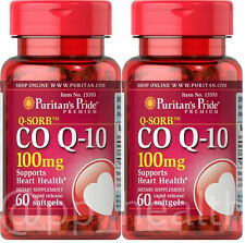 2X Puritan's Q-Sorb CO Q-10 CoQ10 CoQ-10 100 mg 120 Sgel Heart Brain Health