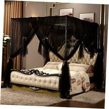 4 Corners Post Canopy Bed Curtain for Girls Boys & California King Black