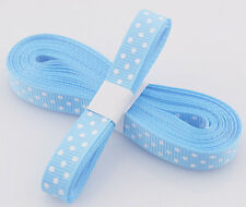 "Blue 5yds 3/8"" (10 mm)Printed Party Polka Dot Grosgrain Ribbon!"