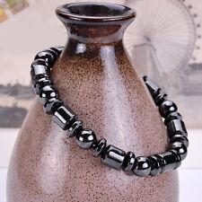 Men's Black Magnetic Hematite Bangle Healing Round Beads Charm Elastic Bracelet