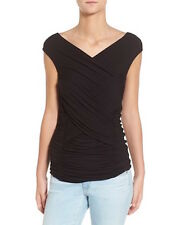 NEW Bailey 44 Treetops Ruched Cap Sleeve/Off Shoulder Jersey Top S $148 NWT