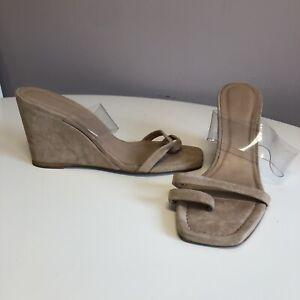 Whistles Beige Suede Leather Wedge Heel Sandles Shoes. Ladies Size UK 8, EUR 41