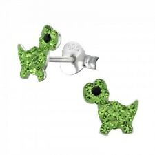 Girls/boys green crystal dinosaur stud earrings sterling silver  - pouch