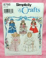 """Uncut Simplicity 16"""" & 18"""" Collector Doll Dresses Pattern 8766 Victorian Wedding"""