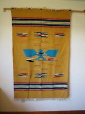 "Vintage Chimayo Thunderbird Wool Blanket 45"" X 72"""