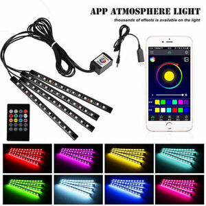 Universal 4x 12LED RGB Car Interior Atmosphere Footwell Strip Light Decor Lamp