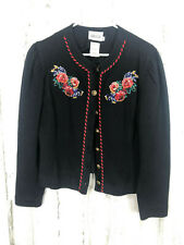 Leslie Fay Sportswear 12P Embellished/Embroidered Cardigan Sweater
