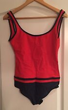 CHANEL Women's One Piece Red And Navy Logo Printed Bathing Suit Size 40  US 8