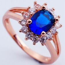 New Size 9 BLUE C.Z. FLOWER DESIGN ROSE GOLD PLATED RING+GIFT POUCH(8396)