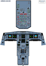 Airbus A340-300 Cockpit Poster LCD Displays 35%-100% Scale