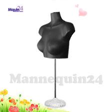 1 Female Torso Dress Form Mannequin - Black with Stand + Hook for Hanging