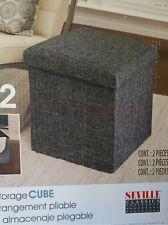 Folding Storage Ottoman Fabric Foot Rest Stool Seat Square Cube Box Lounge Gray